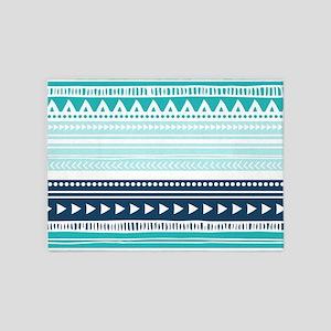 Teal Blue Tribal Geometric Vintage 5'x7'Area Rug