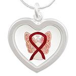 Burgundy Ribbon Awareness Angel Necklaces