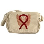 Burgundy Ribbon Awareness Angel Messenger Bag