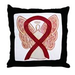 Burgundy Ribbon Awareness Angel Throw Pillow