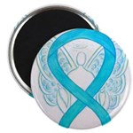 Turquoise Ribbon Angel Magnets
