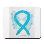 Turquoise Ribbon Angel Mousepad