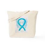 Turquoise Ribbon Angel Tote Bag