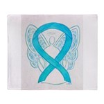 Turquoise Ribbon Angel Throw Blanket