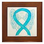 Turquoise Ribbon Angel Framed Tile