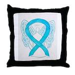 Turquoise Ribbon Angel Throw Pillow