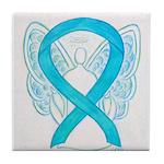 Turquoise Ribbon Angel Tile Coaster