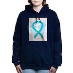 Turquoise Ribbon Angel Women's Hooded Sweatshirt