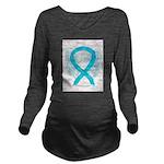 Turquoise Ribbon Angel Long Sleeve Maternity T-Shi