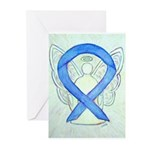 Blue Ribbon Angel Greeting Cards