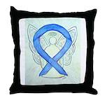 Blue Ribbon Angel Throw Pillow