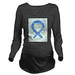 Blue Ribbon Angel Long Sleeve Maternity T-Shirt