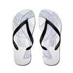 Gray Ribbon Angel Flip Flops