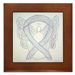 Gray Ribbon Angel Framed Tile