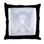 Gray Ribbon Angel Throw Pillow