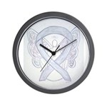 Gray Ribbon Angel Wall Clock