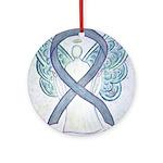 Gray Ribbon Angel Ornament (Round)