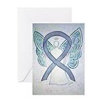 Gray Ribbon Angel Greeting Cards