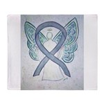 Gray Ribbon Angel Throw Blanket