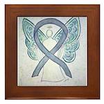 Gray Ribbon Angel Framed Tile