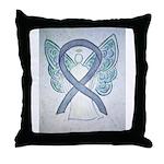 Gray Ribbon Angel Throw Pillow
