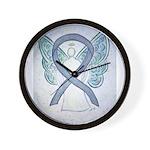 Gray Ribbon Angel Wall Clock