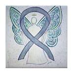 Gray Ribbon Angel Tile Coaster