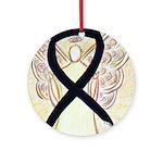 Black Ribbon Angel Ornament (Round)