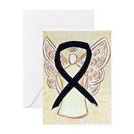 Black Ribbon Angel Greeting Cards