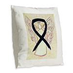 Black Ribbon Angel Burlap Throw Pillow