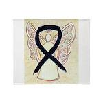 Black Ribbon Angel Throw Blanket