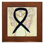 Black Ribbon Angel Framed Tile