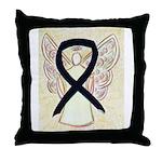 Black Ribbon Angel Throw Pillow