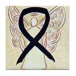 Black Ribbon Angel Tile Coaster