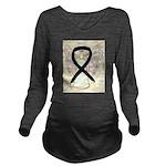 Black Ribbon Angel Long Sleeve Maternity T-Shirt