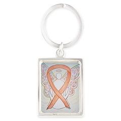 Gold Ribbon Angel Keychains