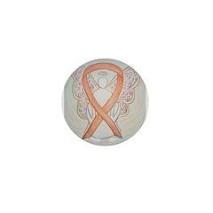 Gold Ribbon Angel Mini Button