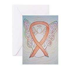 Gold Ribbon Angel Greeting Cards