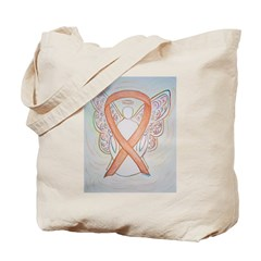 Gold Ribbon Angel Tote Bag