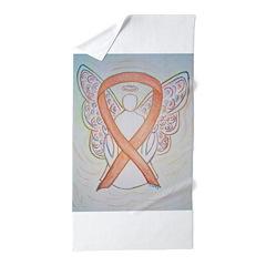 Gold Ribbon Angel Beach Towel