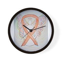 Gold Ribbon Angel Wall Clock