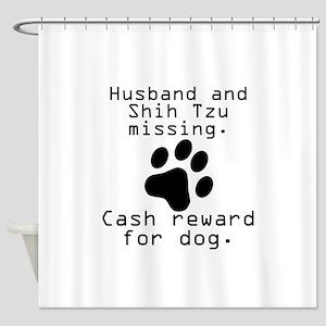 Husband And Shih Tzu Missing Shower Curtain