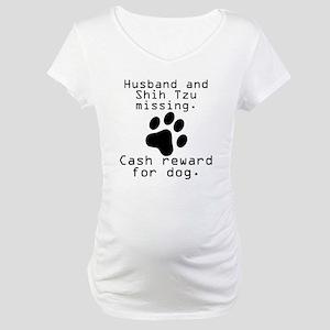Husband And Shih Tzu Missing Maternity T-Shirt