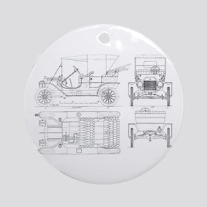 Model T Blueprints Ornament (Round)