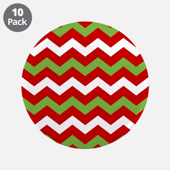 "Chevron Christmas Pattern 3.5"" Button (10 pack)"