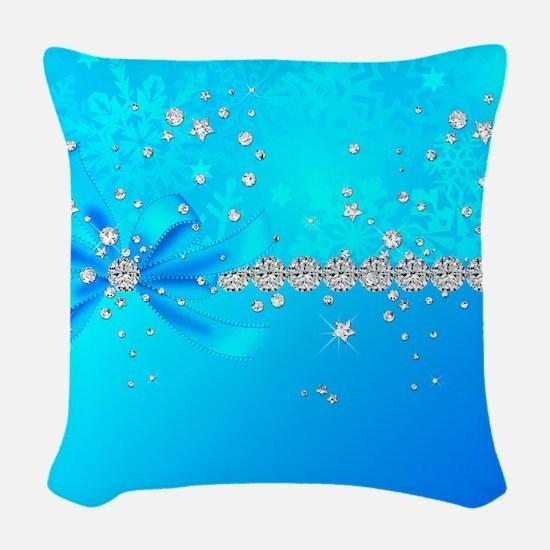 Frozen Snowflakes Woven Throw Pillow