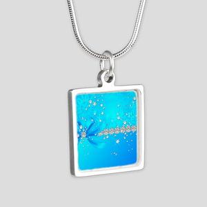 Frozen Snowflakes Silver Square Necklace
