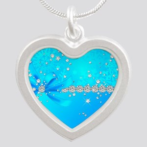 Frozen Snowflakes Silver Heart Necklace