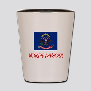 North Dakota Flag Artistic Red Design Shot Glass