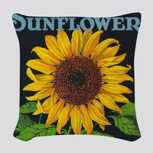 Sunflower Vintage Art Poster Woven Throw Pillow